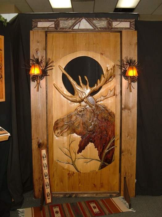 Carved Wood Door Moose Rustic Artistry
