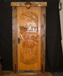 Two Grazing Deer Door with Acorn Valence