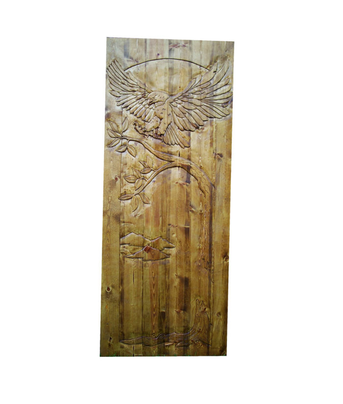 Custom CARVED WOOD DOOR with flying eagle carving | Cabin, ranch, lodge, rustic decor | Unique Rustic Chic by RUSTIC ARTISTRY