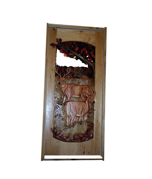 Custom CARVED WOOD DOOR with deer carving | Cabin, ranch, lodge, rustic decor | Unique Rustic Chic by RUSTIC ARTISTRY