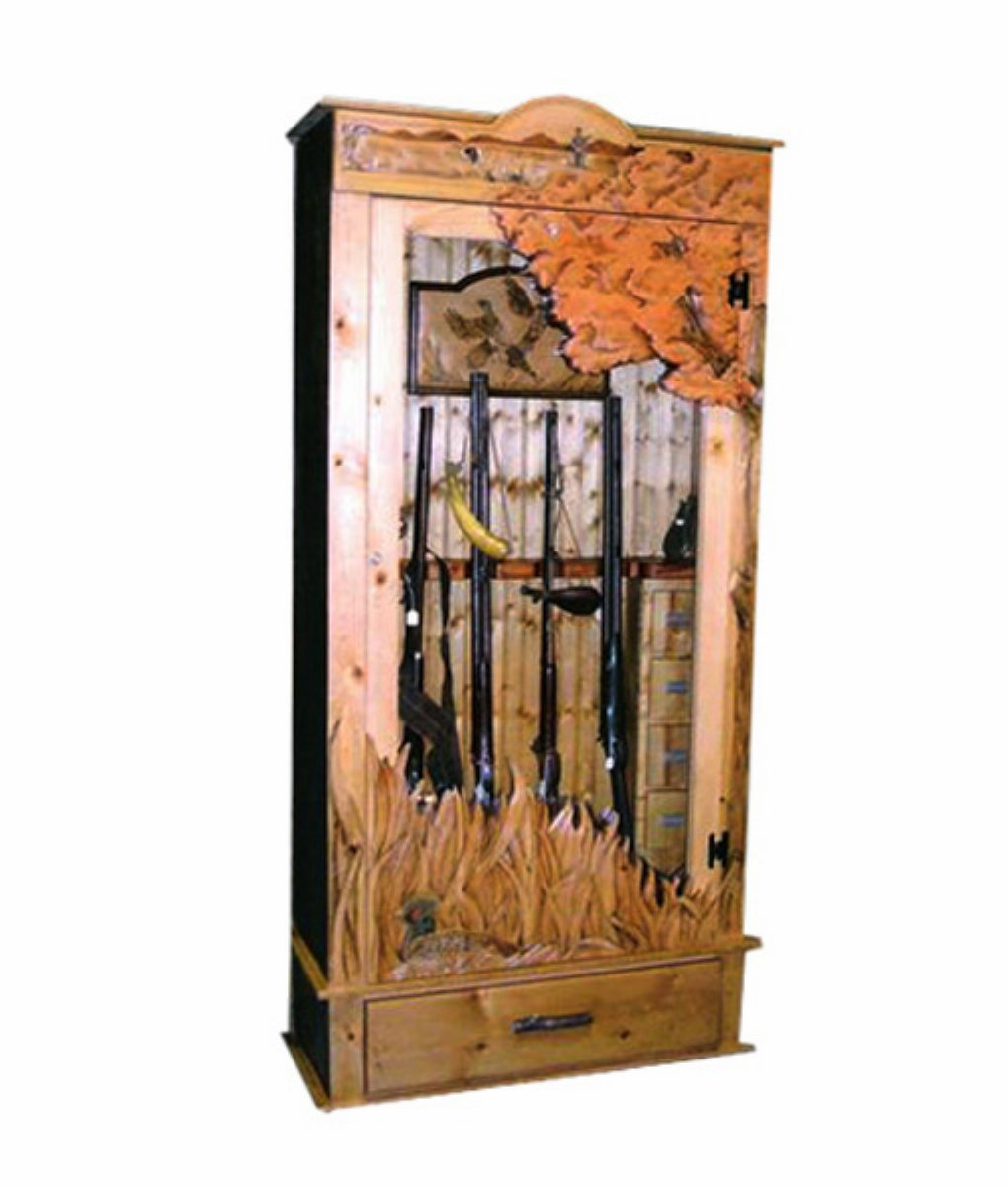 gun cabinet $ 4200 00 this custom carved gun cabinet is made to be