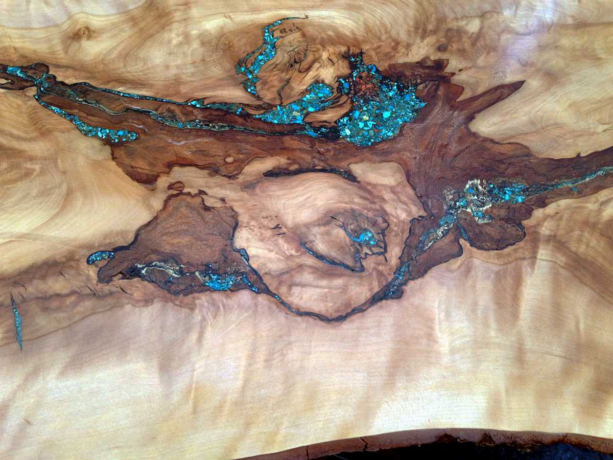 Turquoise Inlay Live Edge Console Table
