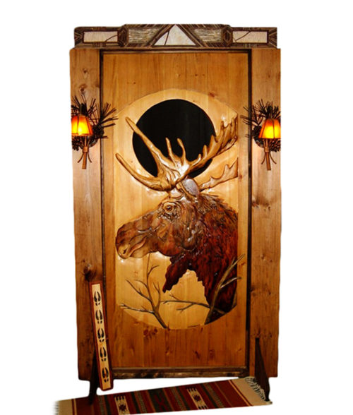Custom CARVED WOOD DOOR with moose carving | Cabin, ranch, lodge, rustic decor | Unique Rustic Chic by RUSTIC ARTISTRY