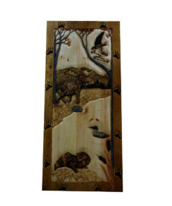 Custom CARVED WOOD DOOR with woodland animals | Cabin, ranch, lodge, rustic decor | Unique Rustic Chic by RUSTIC ARTISTRY
