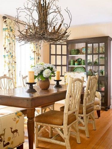 twig chandelier in traditional dining room