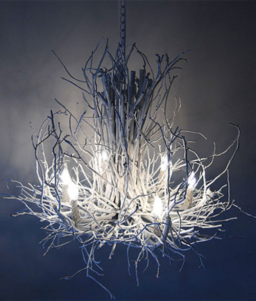 white branchelier twig chandelier Appalachian Wish Designs