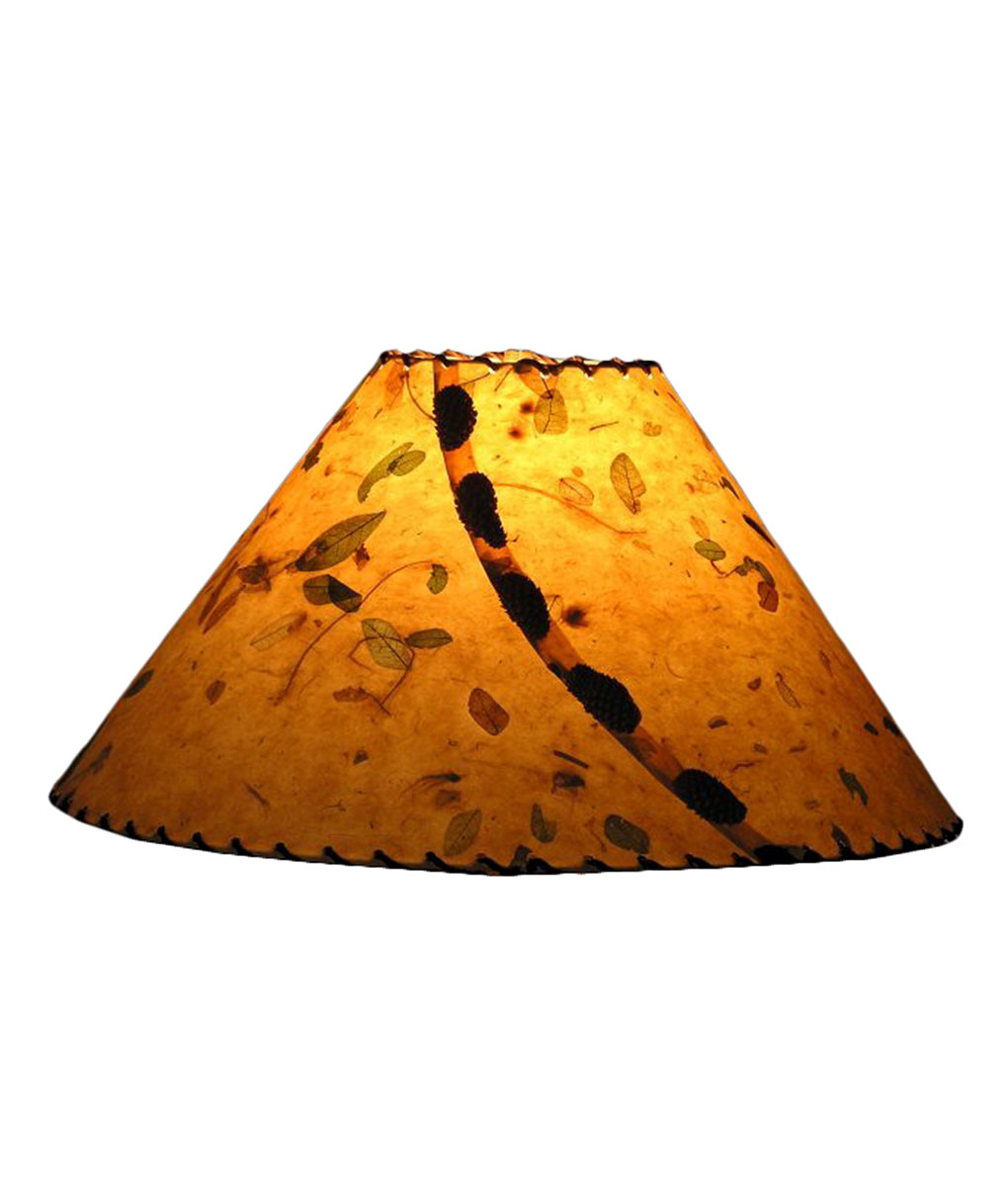 Golden leaves lamp shade rustic artistry handmade paper lamp shades with natural buttons and leather lacing from rustic artistry aloadofball