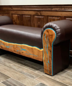 leather bench with turquoise inlay