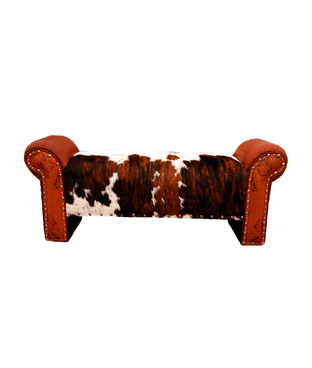 Cowhide, tooled leather and silver tacks on western bench by Rustic Artistry