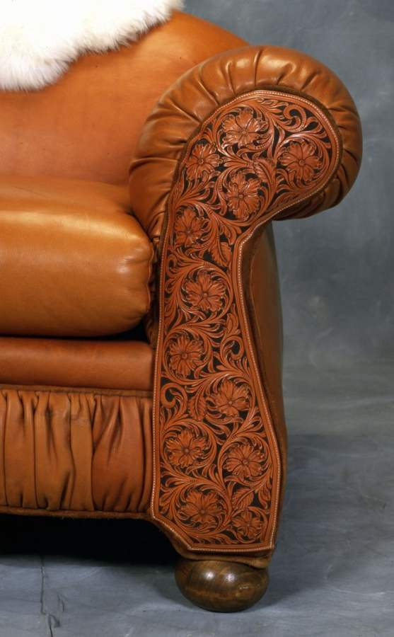 Tooled Leather Sofa Western Sofa Rusticartistry Com