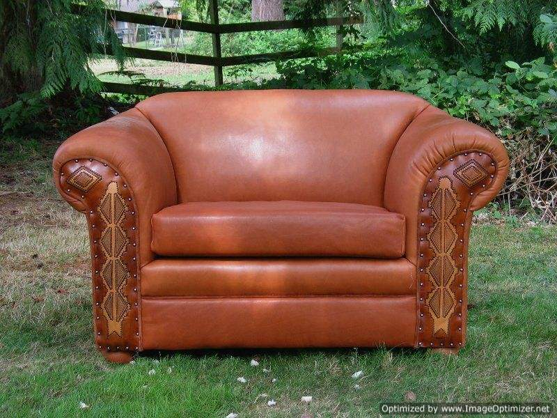 oversize leather arm chair with tooling