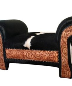 cowhide and tooled leather bench with hair on hide seat