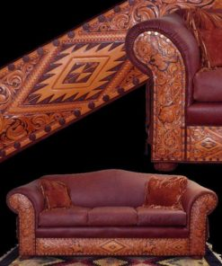 western tooled leather sofa
