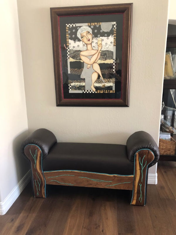 wood and leather bench with inlaid turquoise