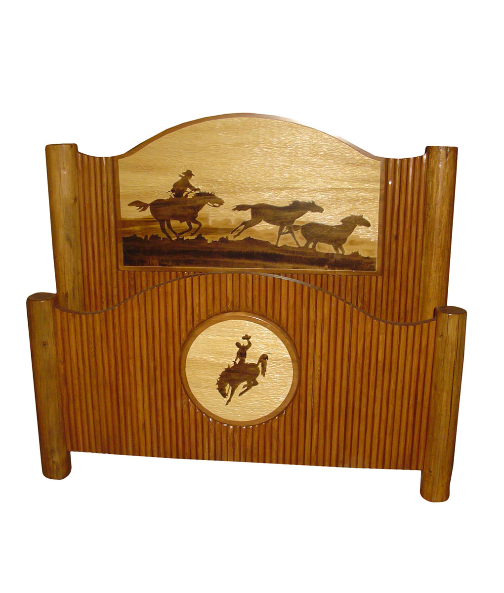 Molesworth Style Rustic Bed with Horse and Cowboy Carving