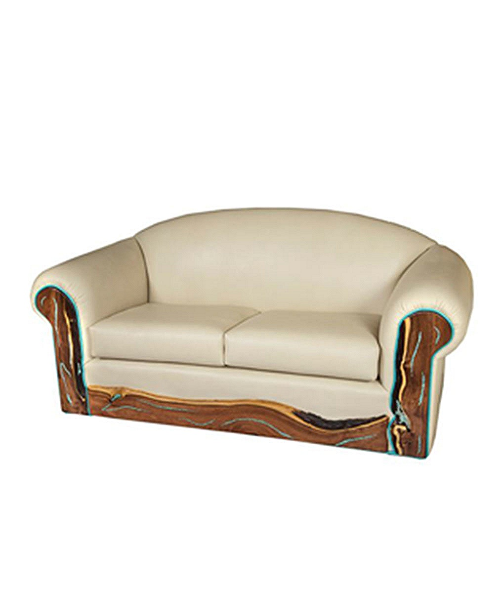 Turquoise inlay western leather sofa rustic artistry - Turquoise sofa ...