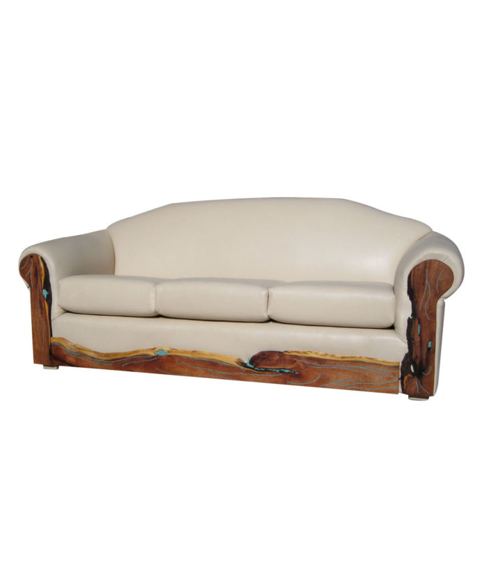 white leather sofa with turquoise inlaid mesquite