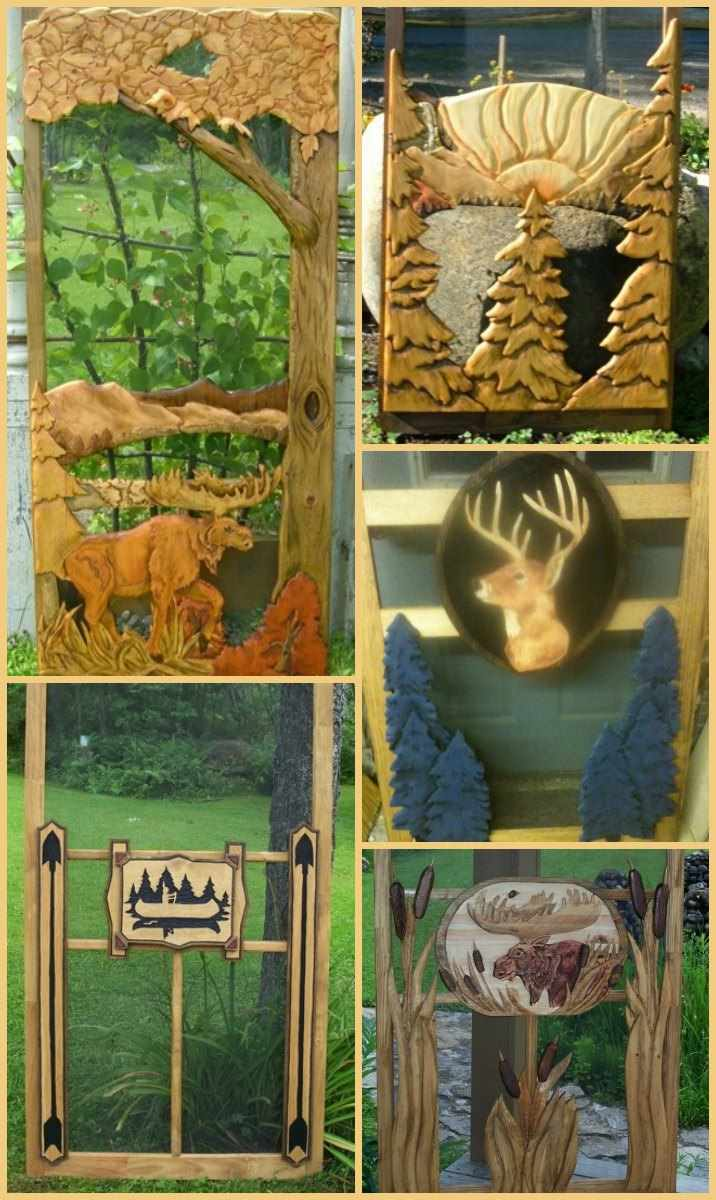 Wood Screen Doors With Hand Carved Animals Woodland Scenes More