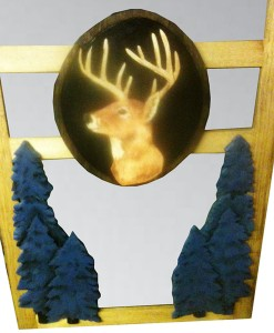 CARVED SCREEN DOOR with deer medallion and pine trees carving | Cabin, ranch, lodge, rustic decor | Unique Rustic Chic by RUSTIC ARTISTRY