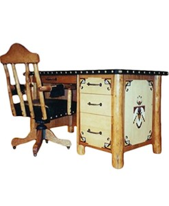 Molesworth style desk with Native American designs and swivel desk chair | Western Furniture and Decor from Rustic Artistry