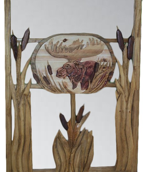 CARVED SCREEN DOOR with moose and cattails carving | Cabin, ranch, lodge, rustic decor | Unique Rustic Chic by RUSTIC ARTISTRY