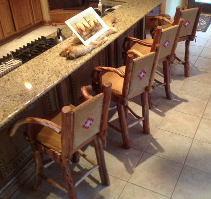 Western Style Juniper Wood Bar Stool Or Counter Stool
