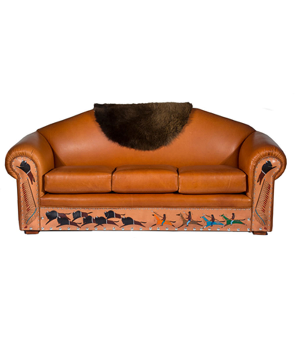 Hand painted depictions of a Native American hunting scene on Customizable Leather Sofa | Western furniture and decor from RusticArtistry.com
