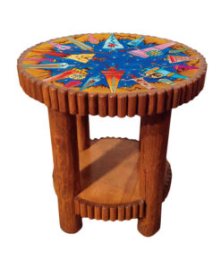 Molesworth round side table with printed leather top