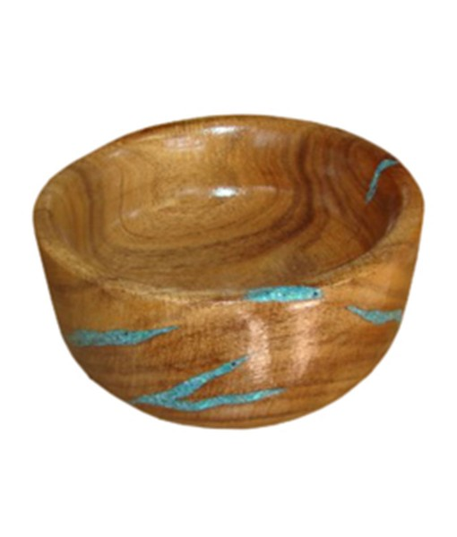 Mesquite wood bowl with inlaid turquoise | Rustic and Western Furniture and Decor from RusticArtistry.com