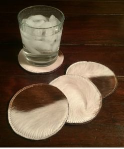 set of 4 round cowhide coasters