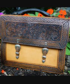 Tooled Leather Briefcase with Double Buckles | Unique Rustic Chic from RusticArtistry.com