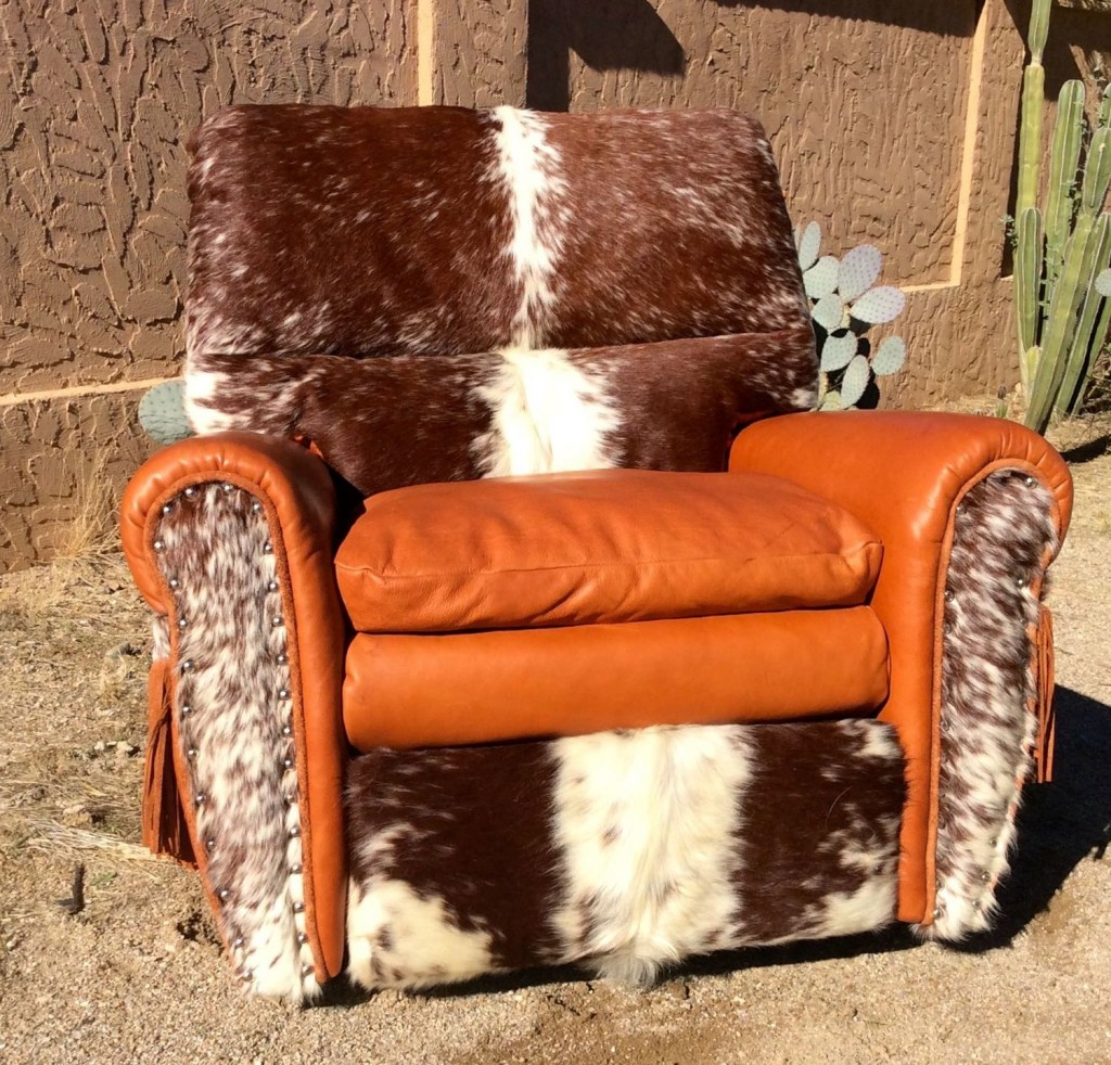 Cowhide and leather recliner for western decor
