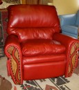Red recliner with tooled leather