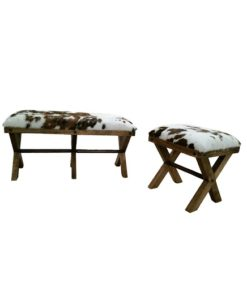Cowhide bench with X style wood legs, made to any size