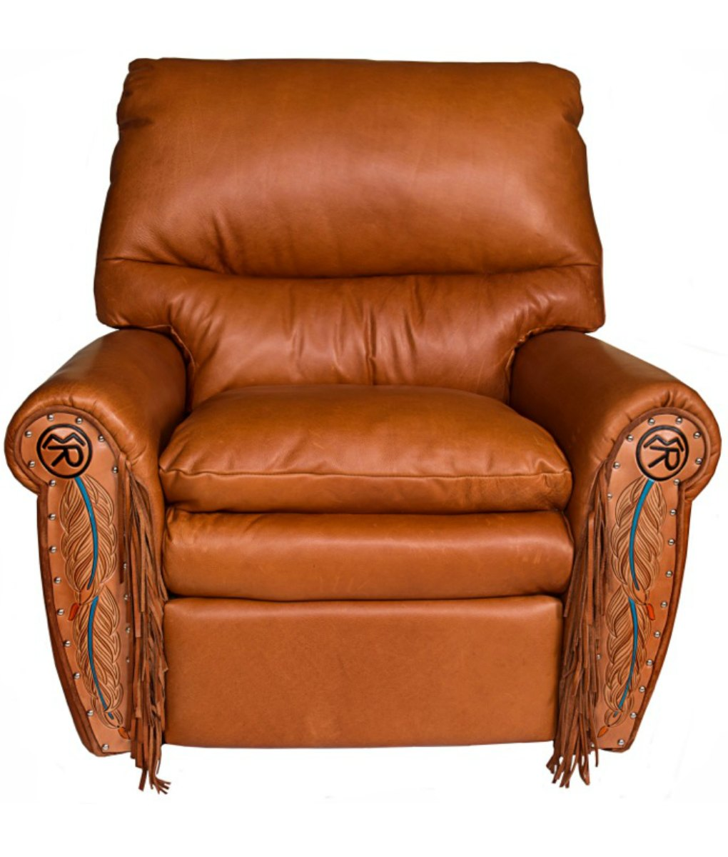 Western Recliner The Ultimate Recliner: down filled seat and back, lumbar support, leather soft as butter, and can be made in any color leather with your choice of cowhide, tooling, fringe, conchos, brand and more! Truly the most comfortable recliner I've ever sat in.   Western and Rustic Furniture and Decor from RusticArtistry.com