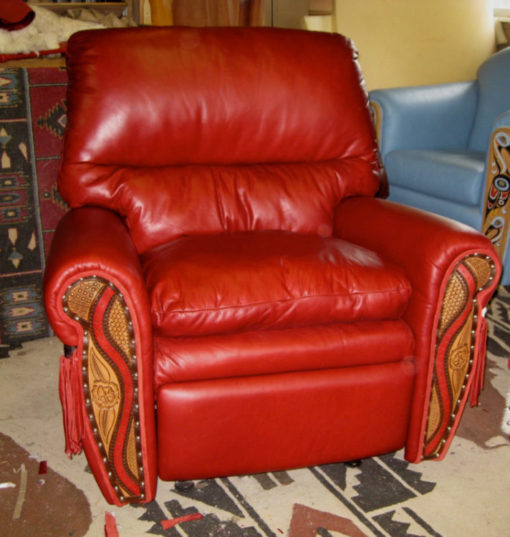 Ultra soft leather recliner in red leather with tooling for western decor