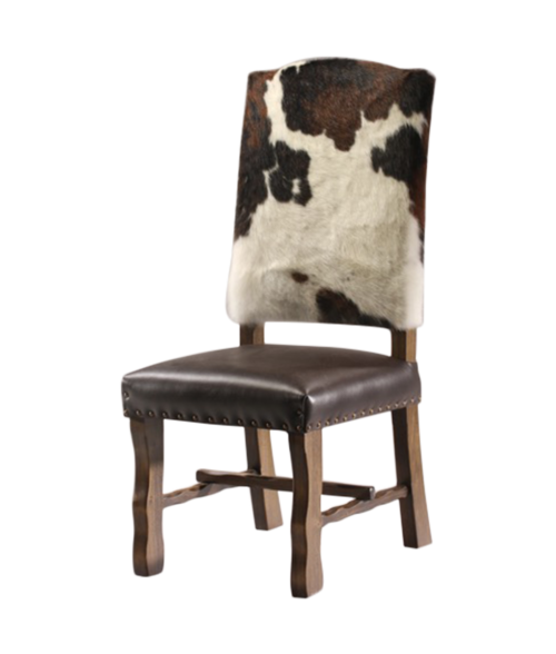 cowhide and leather dining chair