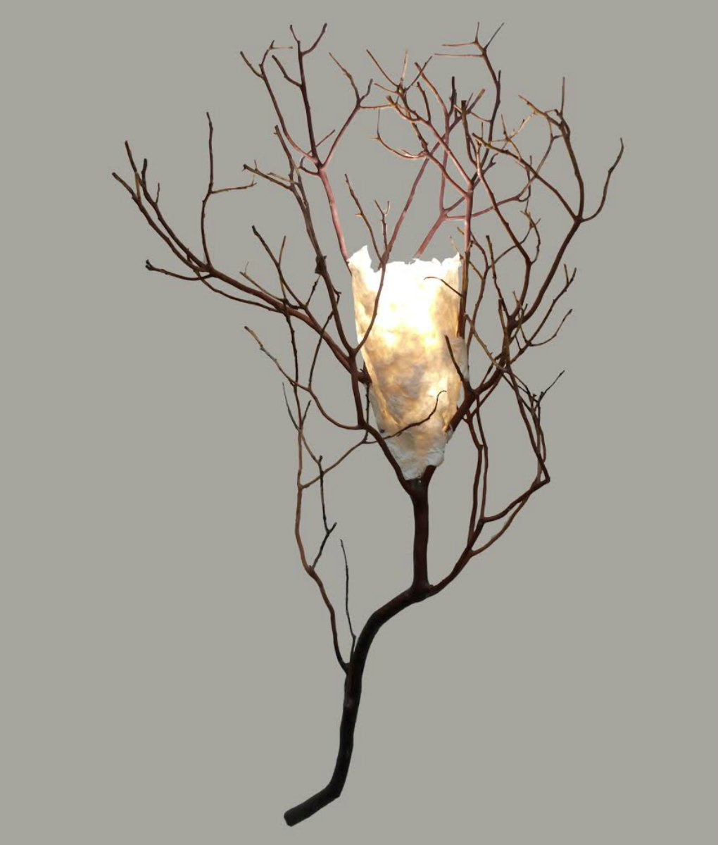 Twig sconce with handmade paper shade rustic artistry twig wall sconce with handmade paper shade amipublicfo Gallery