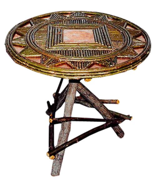 Willow inlaid tripod table