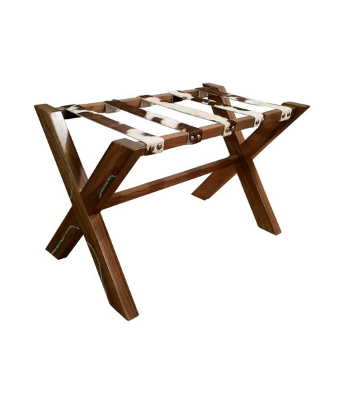 wood luggage rack with cowhide straps