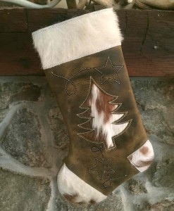 Cowhide Christmas stocking with Christmas Tree design