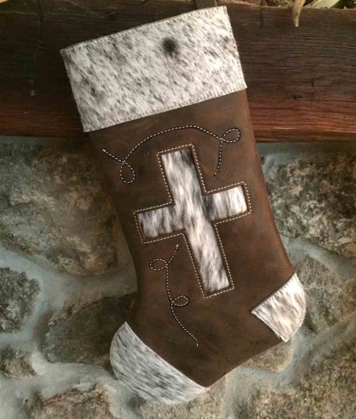 Cowhide Christmas Stocking with Cross Design