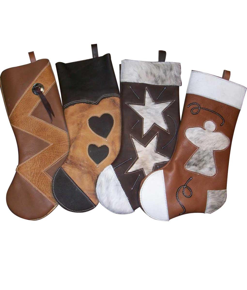 Cowhide Christmas stockings group