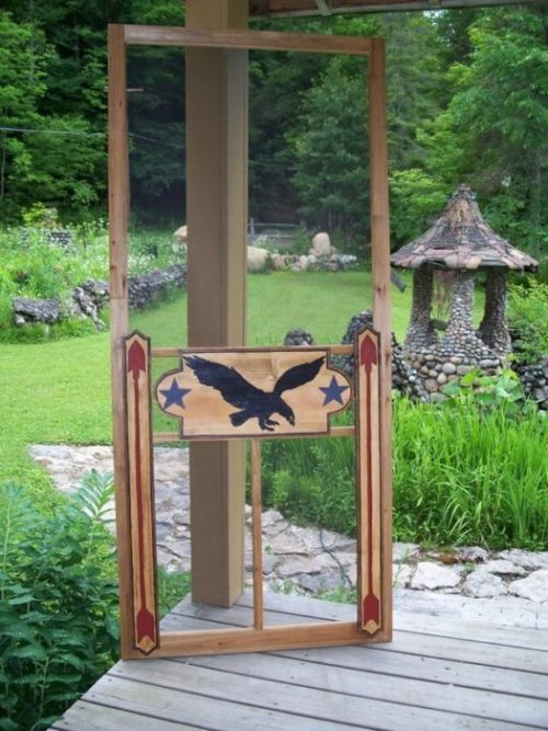 all-American style screen door with eagle and stars