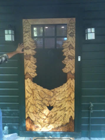 carved trees screen door
