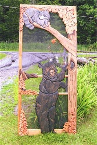 Carved Wood Screen Door With Bear Raccoon And Tree