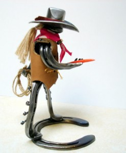 horse shoe cowgirl with carrot and rope