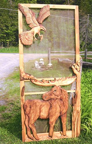 Carved Wood Screen Door Custom For J Vanais Rustic