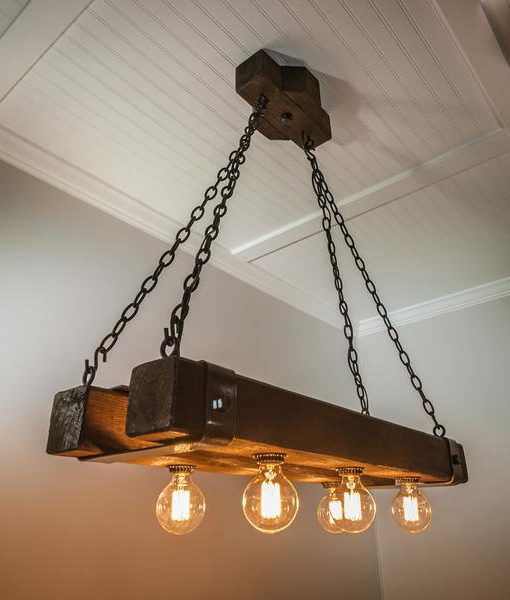 Rustic Double Wood Beam Chandelier With Edison Bulbs