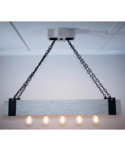 Forged iron and wood beam chandelier with Edison bulbs